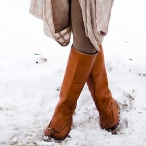 Зимние сапоги из замши